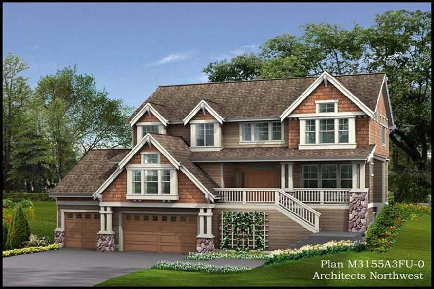 4-Bedroom, 3155 Sq Ft Multi-Level Home Plan - 115-1430 - Main Exterior
