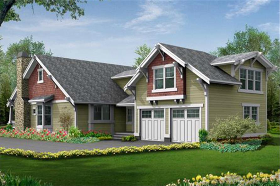 115-1434: Home Plan Rendering - Right Elevation View