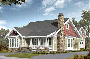 Front elevation of Craftsman home (ThePlanCollection: House Plan #115-1434)