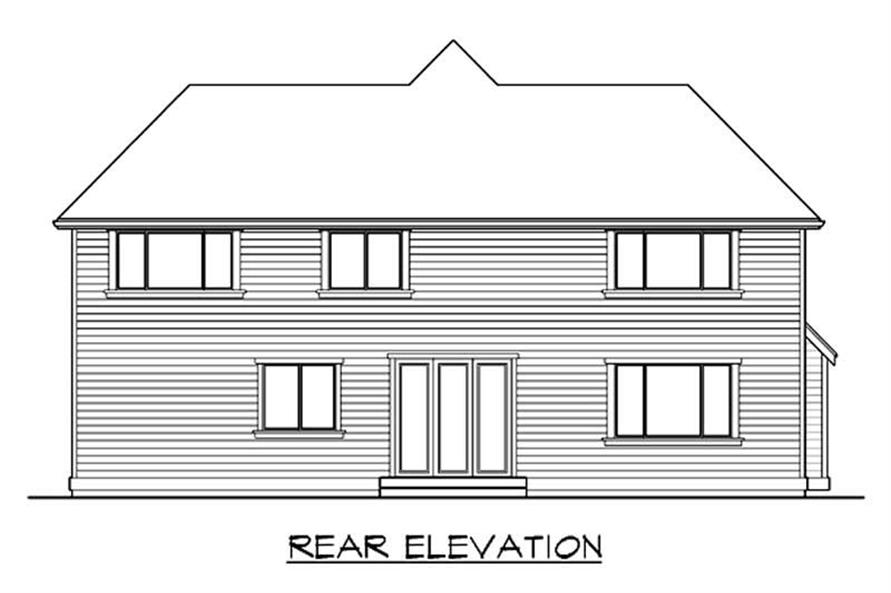 Home Plan Rear Elevation of this 4-Bedroom,2645 Sq Ft Plan -115-1435