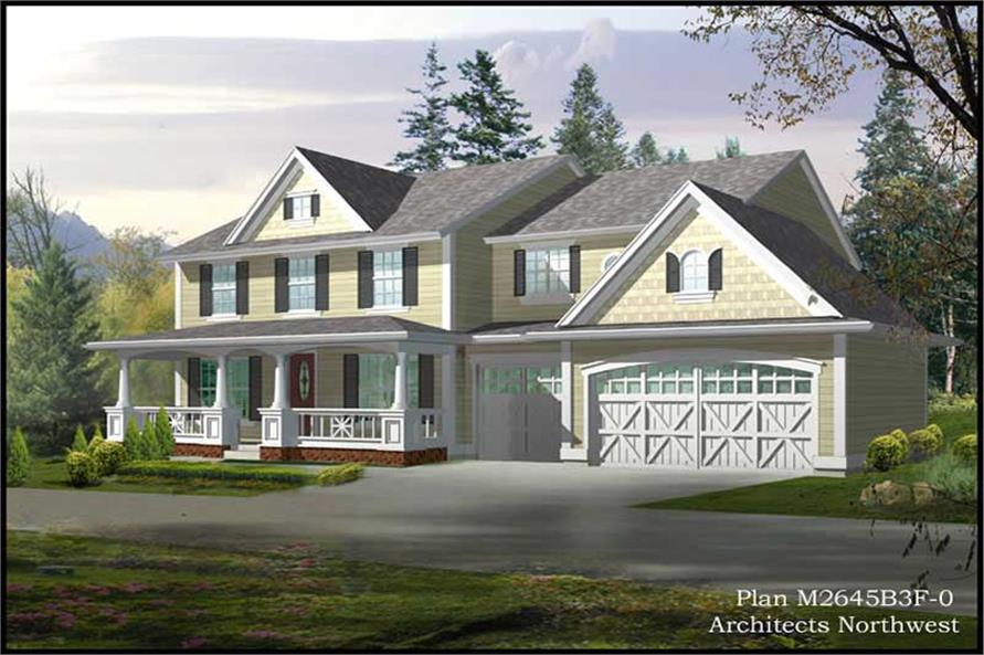 4-Bedroom, 2700 Sq Ft Country Home Plan - 115-1443 - Main Exterior
