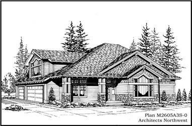 3-Bedroom, 2605 Sq Ft Country House Plan - 115-1444 - Front Exterior