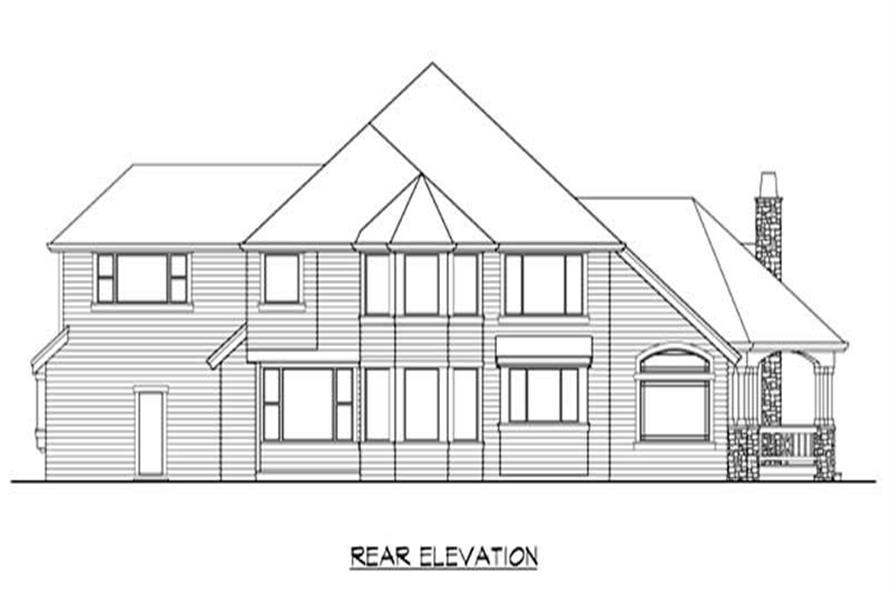 Home Plan Rear Elevation of this 4-Bedroom,4220 Sq Ft Plan -115-1454