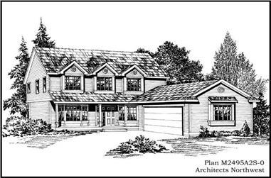 4-Bedroom, 2495 Sq Ft Cape Cod Home Plan - 115-1458 - Main Exterior