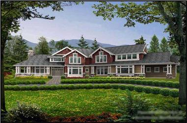 5-Bedroom, 4650 Sq Ft Craftsman Home Plan - 115-1459 - Main Exterior