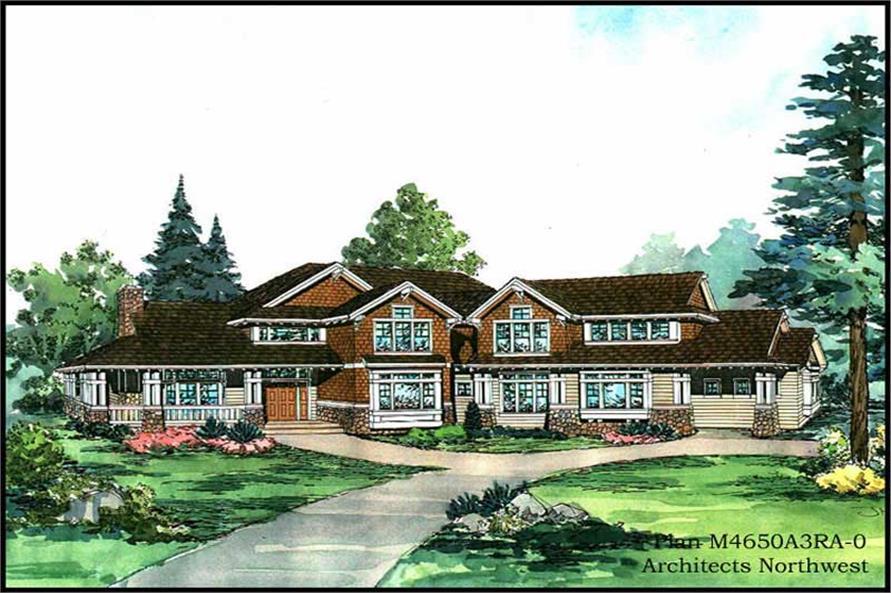 Home Plan Rendering of this 5-Bedroom,4650 Sq Ft Plan -115-1459