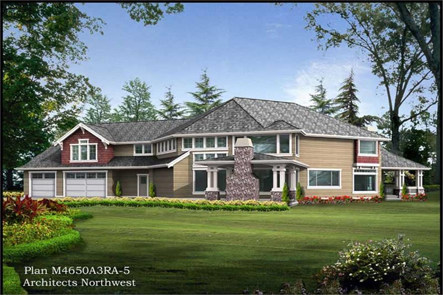 Home Plan Rear Elevation of this 5-Bedroom,4650 Sq Ft Plan -115-1459