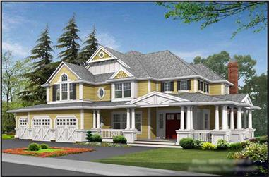 4-Bedroom, 4430 Sq Ft Country Home Plan - 115-1461 - Main Exterior