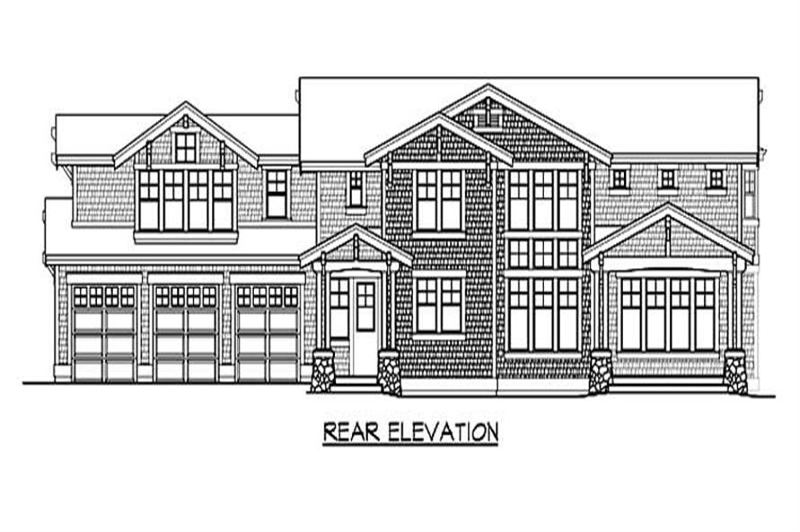 Home Plan Rear Elevation of this 4-Bedroom,4177 Sq Ft Plan -115-1463