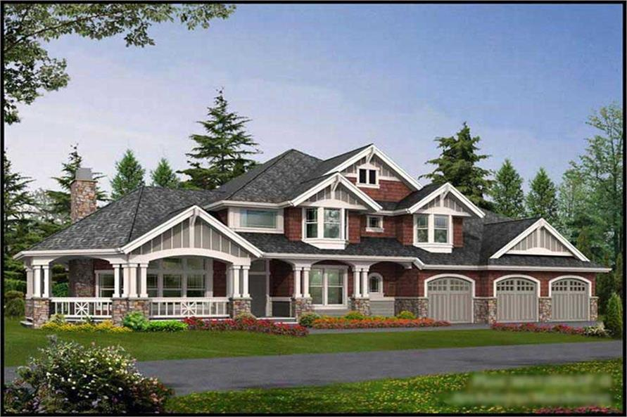 This image shows the exterior to these Craftsman House Plans.