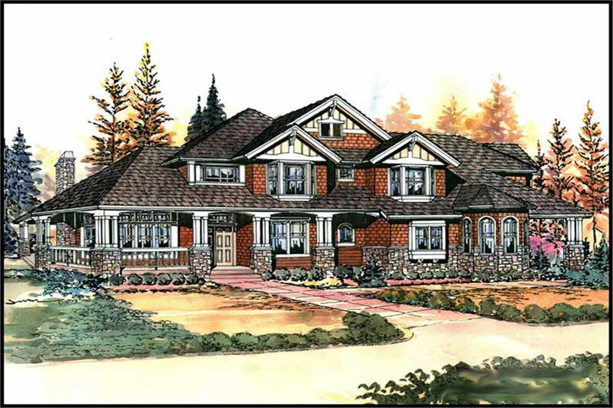 Home Plan Front Elevation of this 4-Bedroom,4100 Sq Ft Plan -115-1465