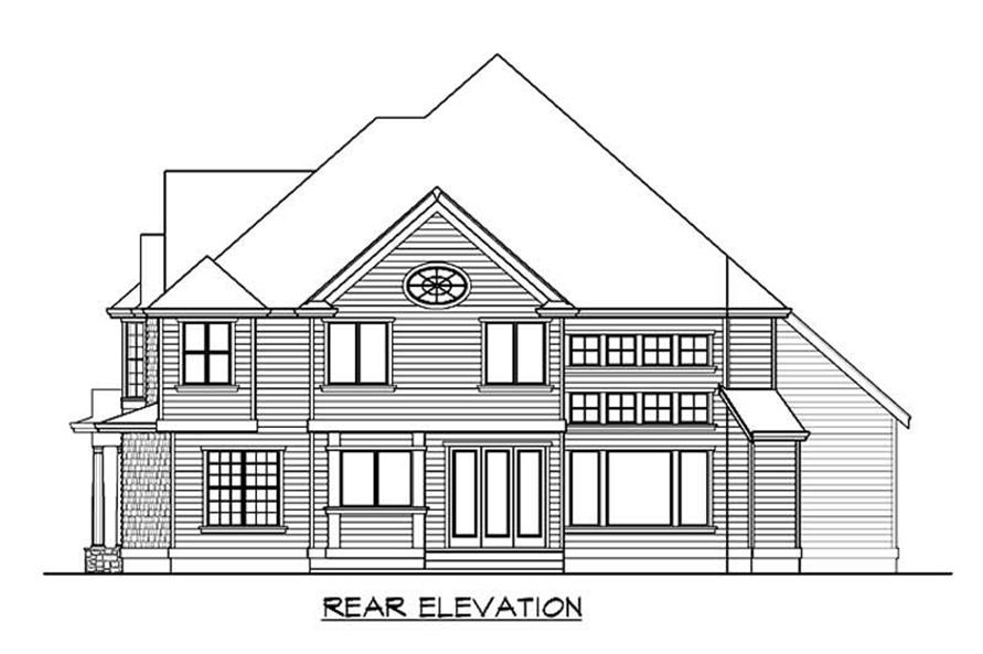 Home Plan Rear Elevation of this 4-Bedroom,4060 Sq Ft Plan -115-1466