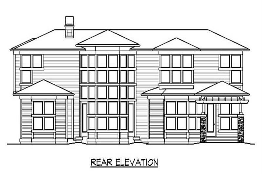 Home Plan Rear Elevation of this 4-Bedroom,4395 Sq Ft Plan -115-1467