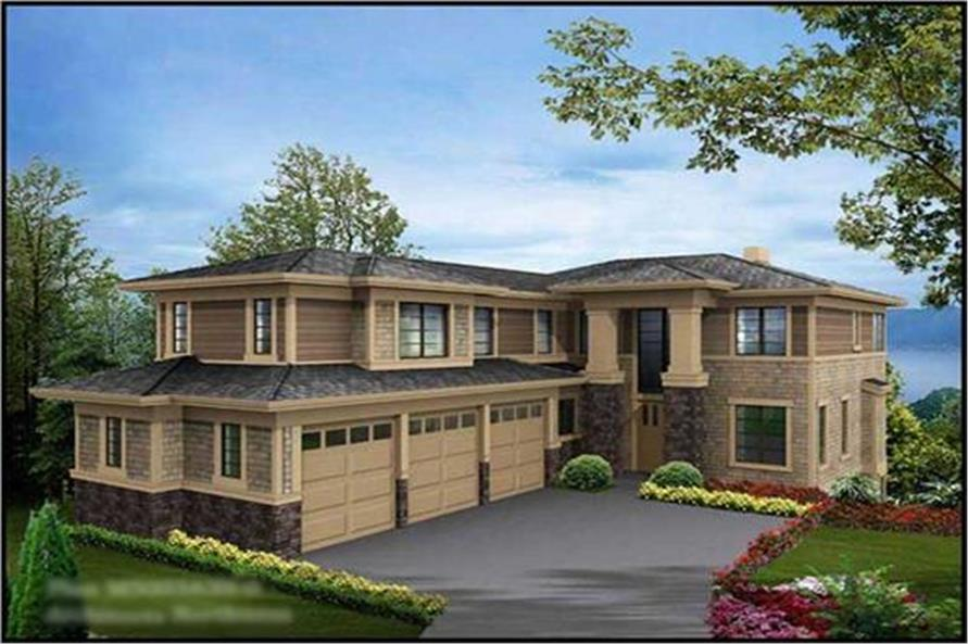Front elevation of Craftsman home (ThePlanCollection: House Plan #115-1469)