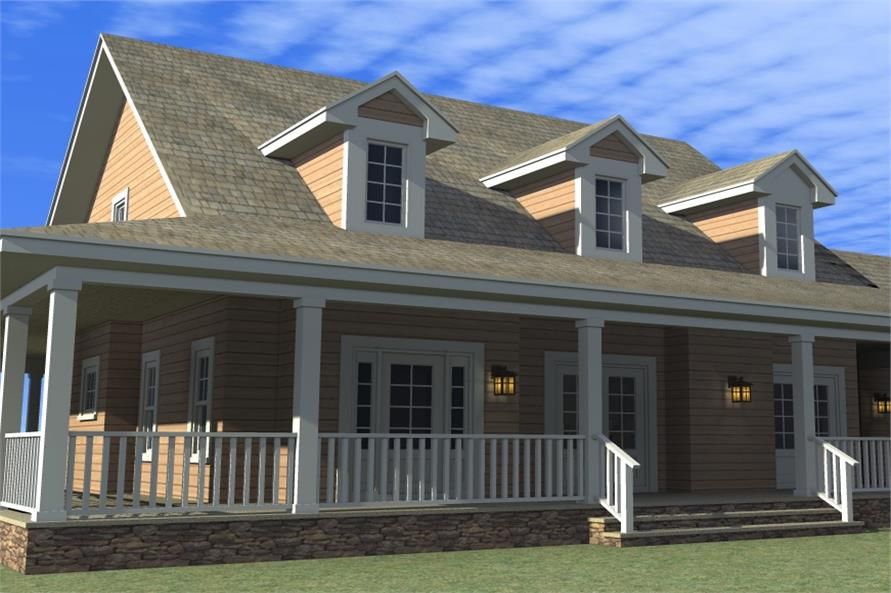 Home Plan Rear Elevation of this 4-Bedroom,2265 Sq Ft Plan -116-1001