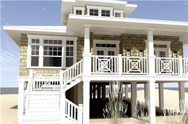 Color rendering of Beachfront home plan (ThePlanCollection: House Plan #116-1003)