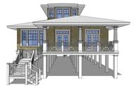 This is a 3D computerized rendering of these Beachfront House Plans.