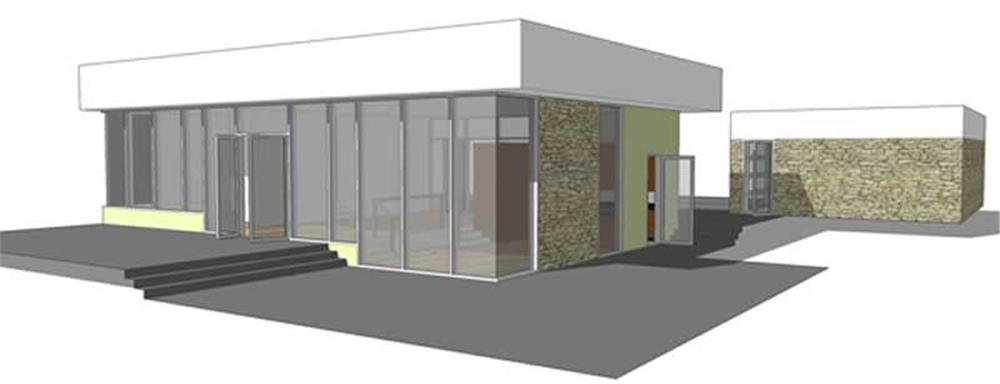 Front elevation of Modern home (ThePlanCollection: House Plan #116-1005)