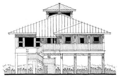 This is the front elevation of these Florida Coastal House Plans.