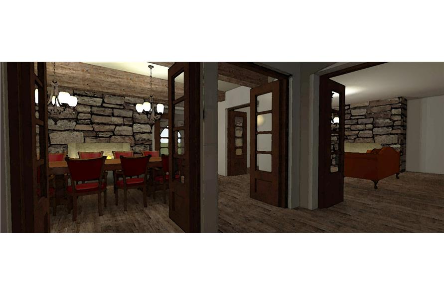 116-1010: Home Plan 3D Image-Entry Hall: Foyer