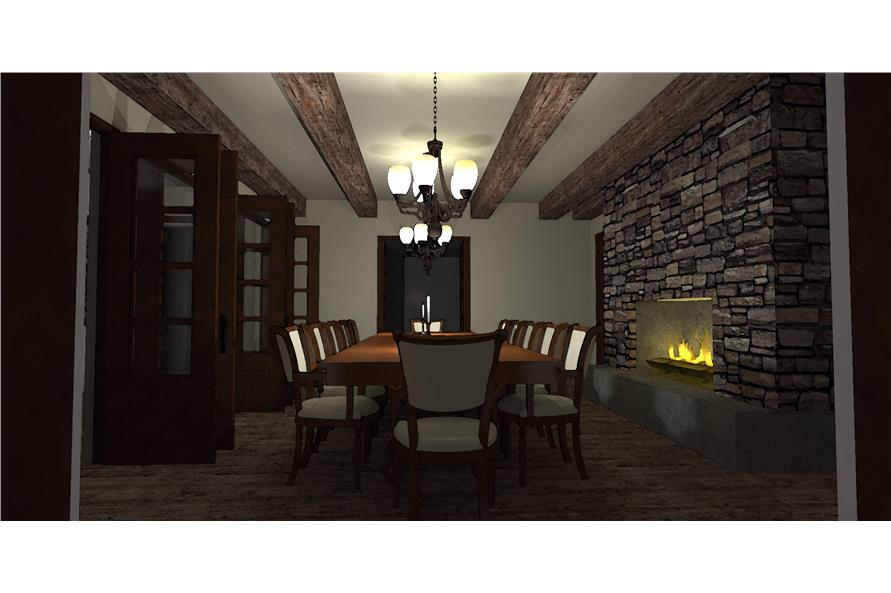 116-1010: Home Plan 3D Image-Dining Room