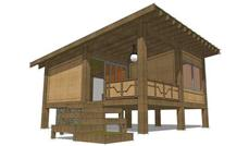 This is the front elevation of these Modern Hunting Cabin House Plans.