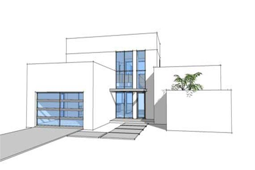 Front elevation for Modern house plan 116-1015.