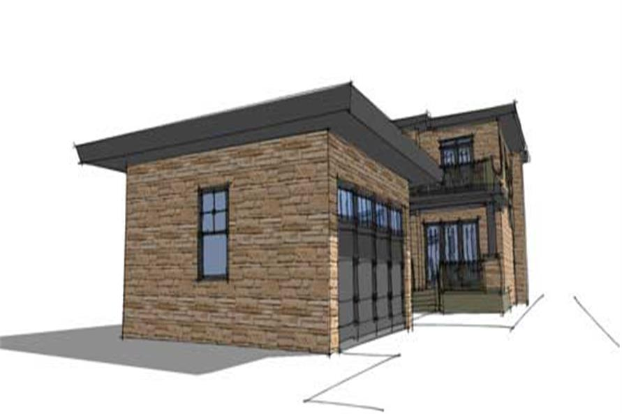 Home Plan Rear Elevation of this 3-Bedroom,1586 Sq Ft Plan -116-1016
