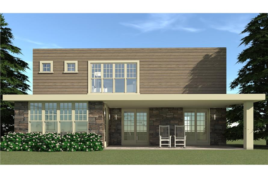 Home Plan Rear Elevation of this 5-Bedroom,3000 Sq Ft Plan -116-1018