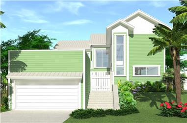 4-Bedroom, 2592 Sq Ft Beachfront Home Plan - 116-1021 - Main Exterior