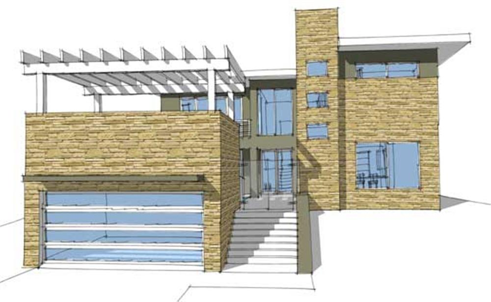 This is a computer rendering of these modern prairie homeplans.