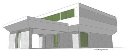 This is the front elevation for these Modern House Plans.