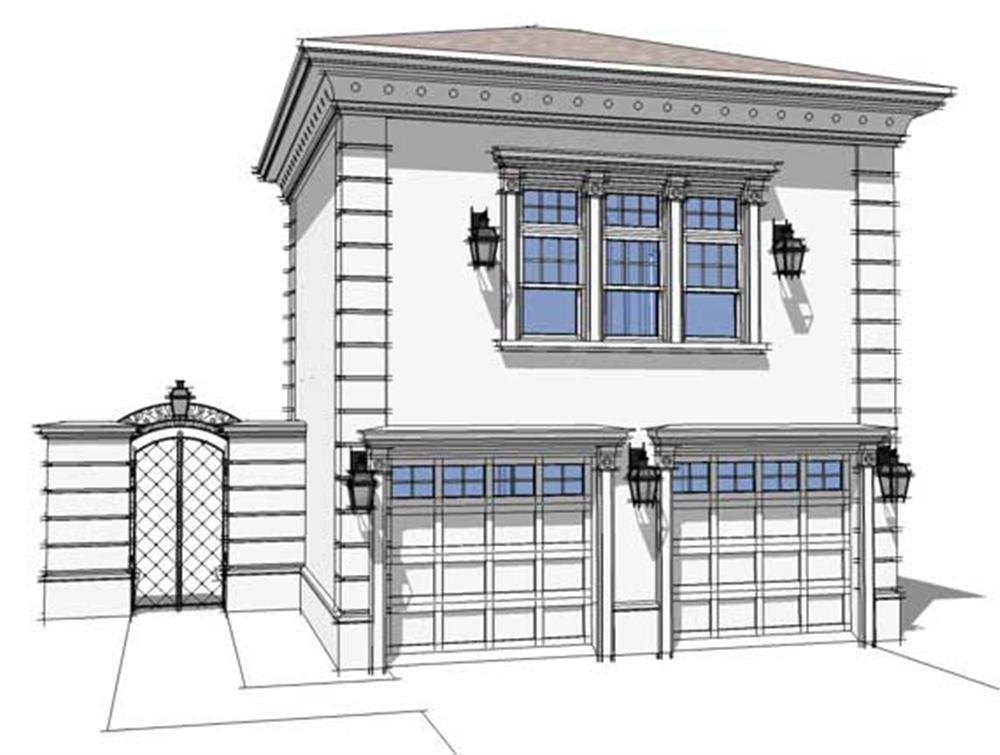 This is a computer generated front elevation of these Garage Plans.