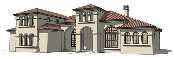 This is the front elevation of these Mediterranean Home Plans.