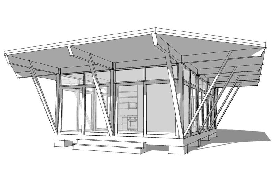 This image shows the front elevation of these Modern House Plans.