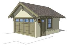 This image is a computer rendered elevation of these garage house plans.