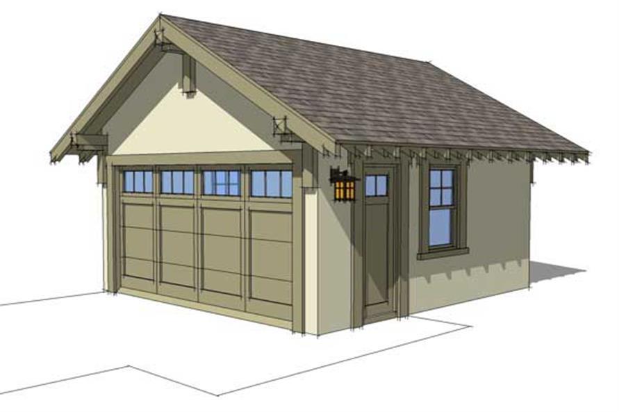 1-Car, 380 Sq Ft Craftsman Garage Plan - 116-1042 - Front Exterior