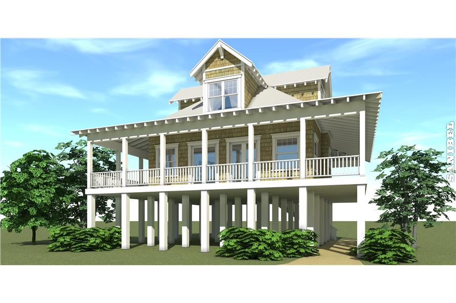 Front elevation of Coastal home plan (ThePlanCollection: House Plan #116-1043)