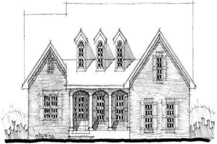 This image shows the front elevation in black and white of this set of country houseplans.