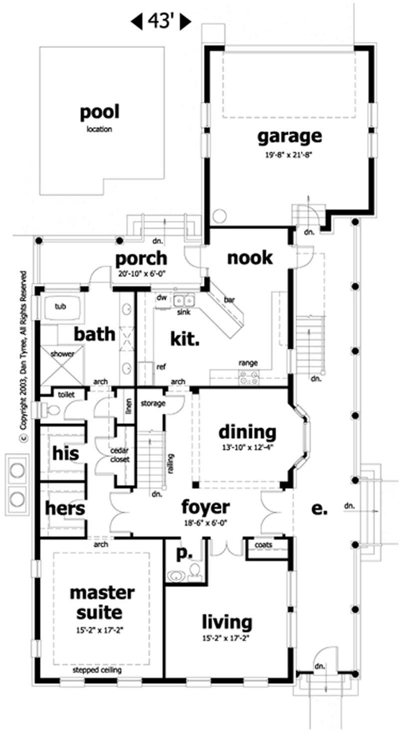 Southern home plan 5 bedrms 4 baths 3201 sq ft 116 for Charleston side house plans