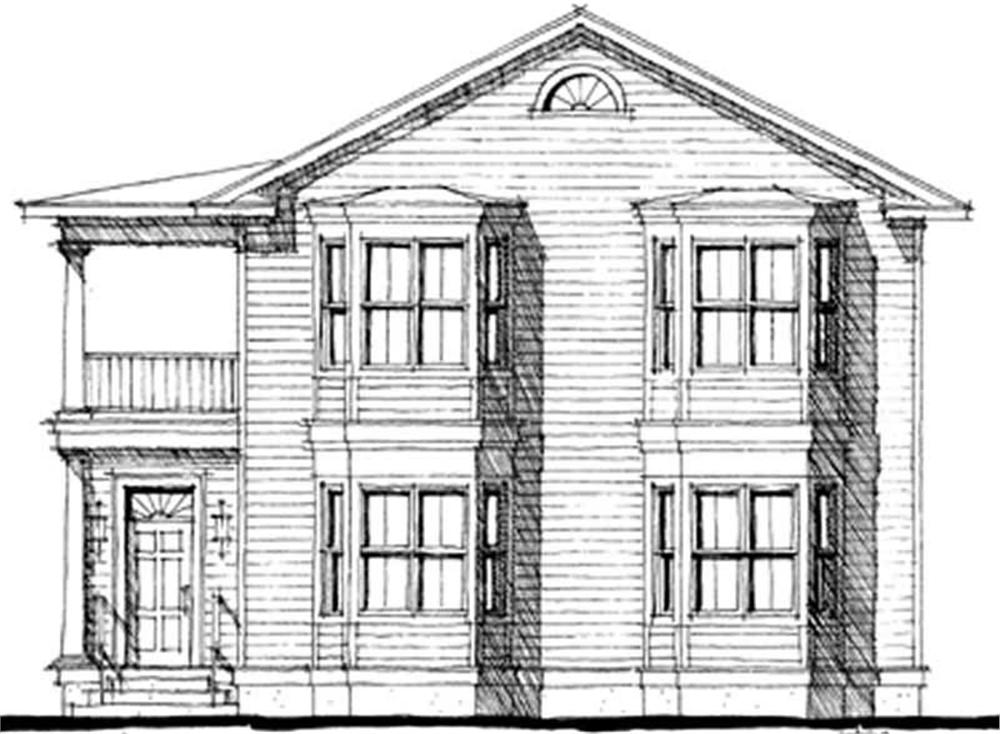 Front elevation of Colonial home (ThePlanCollection: House Plan #116-1054)