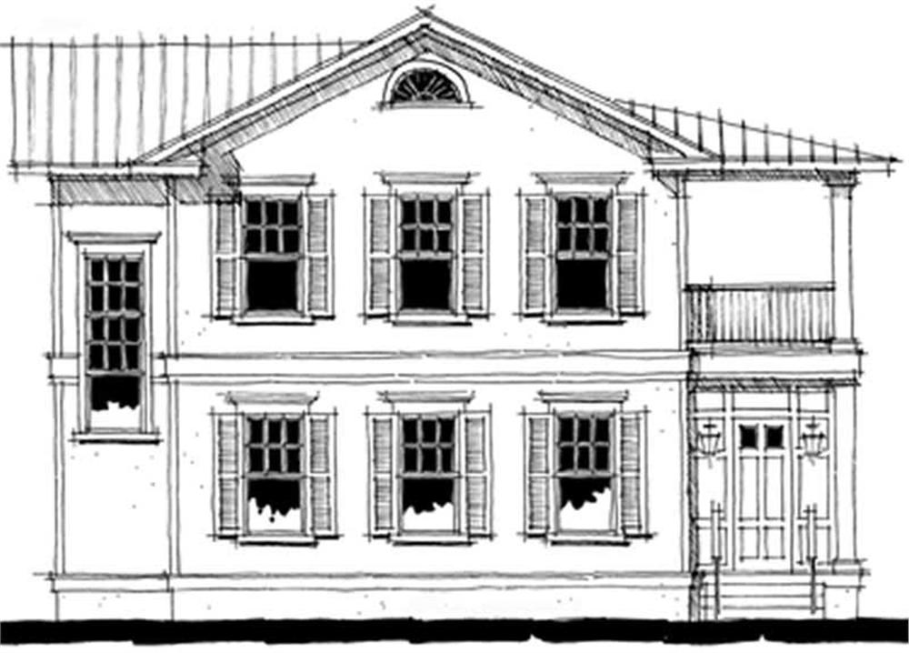 Front elevation of Coastal home (ThePlanCollection: House Plan #116-1055)