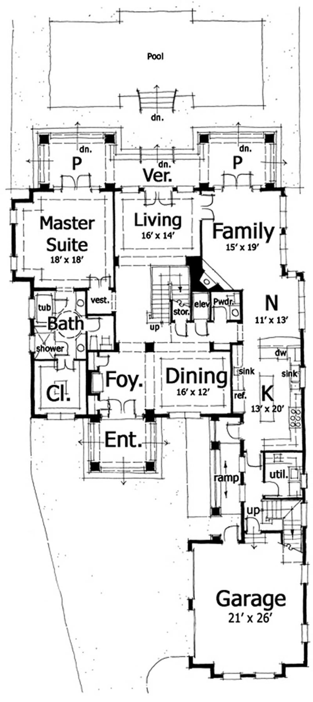 Floor Plan First Story for Bungalow House Plan DT-0025