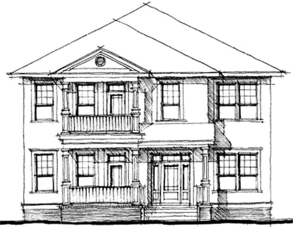 Front elevation of Southern home (ThePlanCollection: House Plan #116-1060)