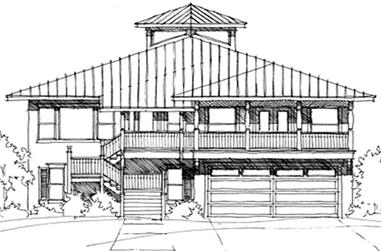 Front elevation of Beachfront home (ThePlanCollection: House Plan #116-1062)