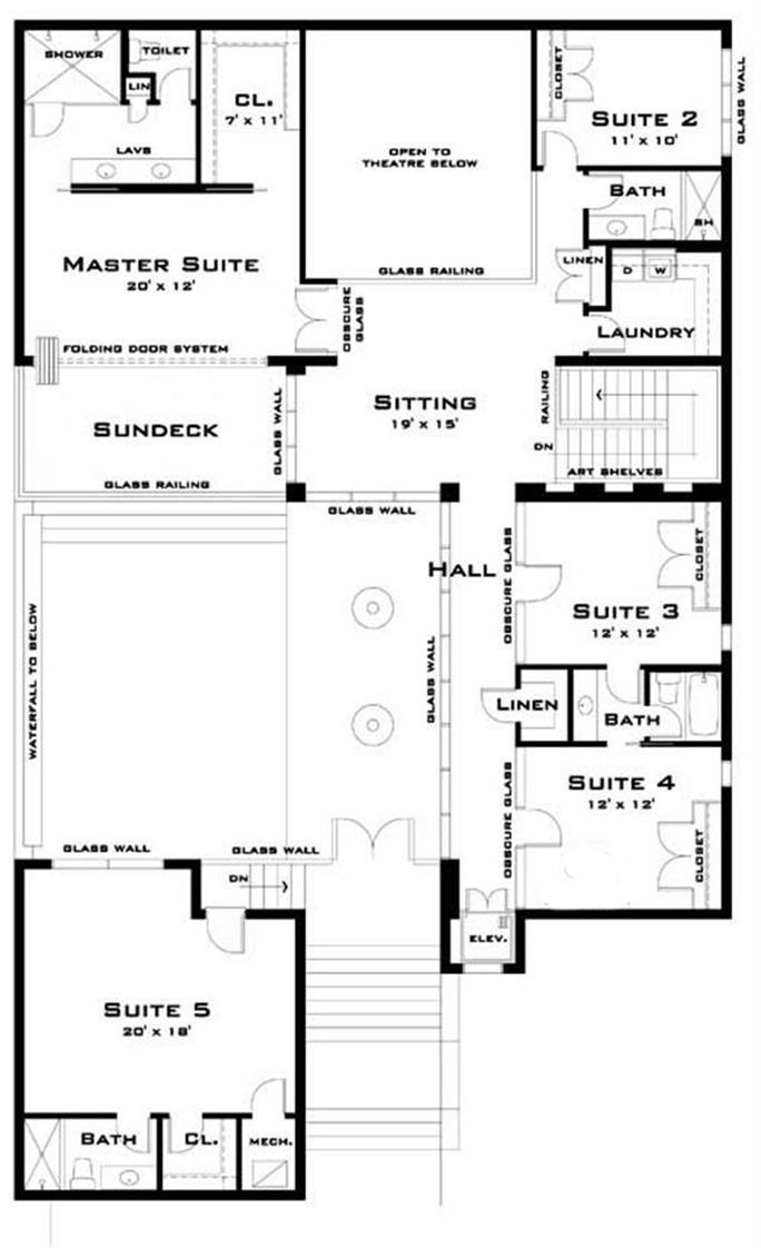 Modern House plans   Home Design           Floor Plan Upper Level