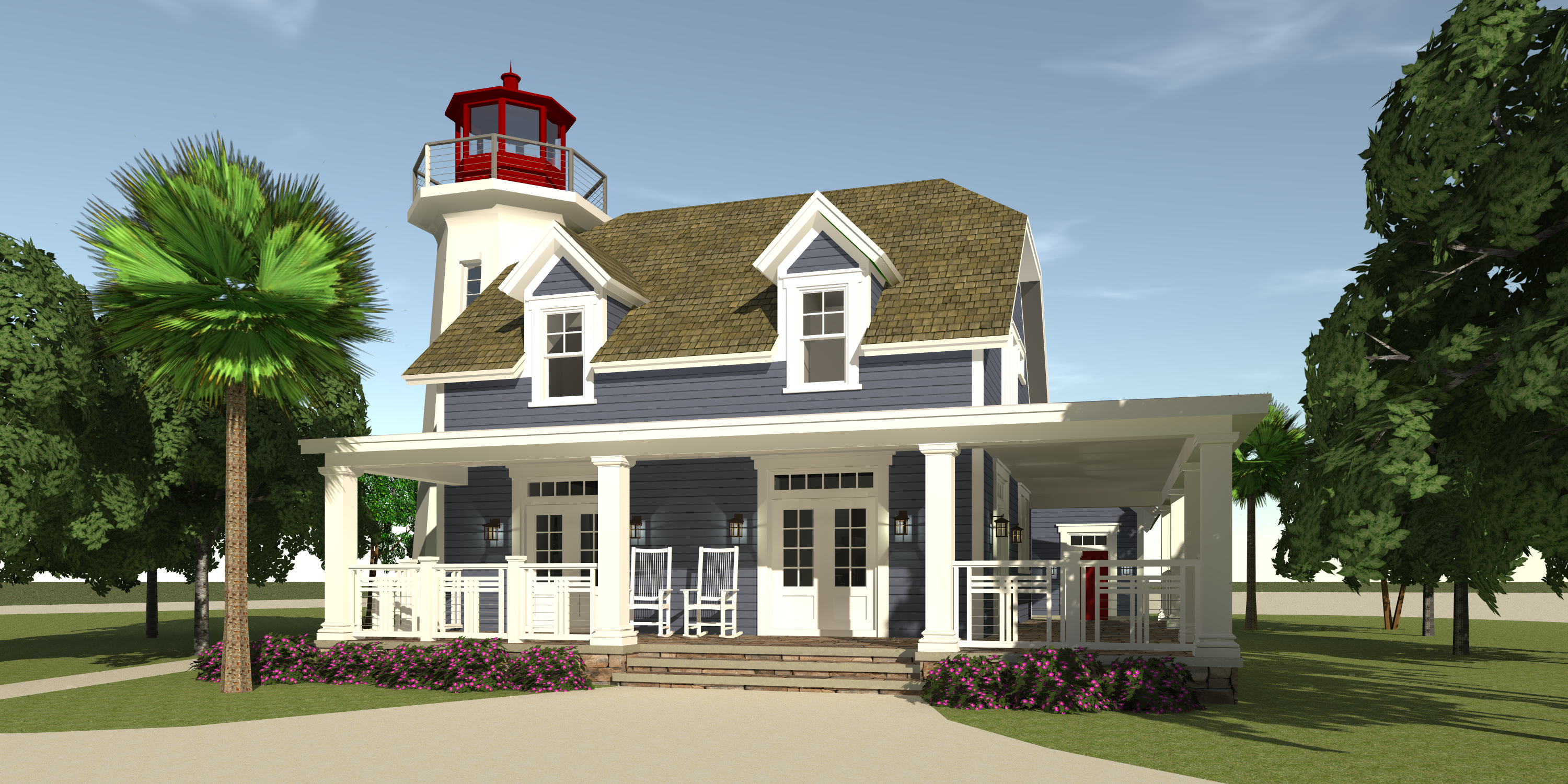Coastal House Plan With Lighthouse 3 Bedrms 2 5 Baths