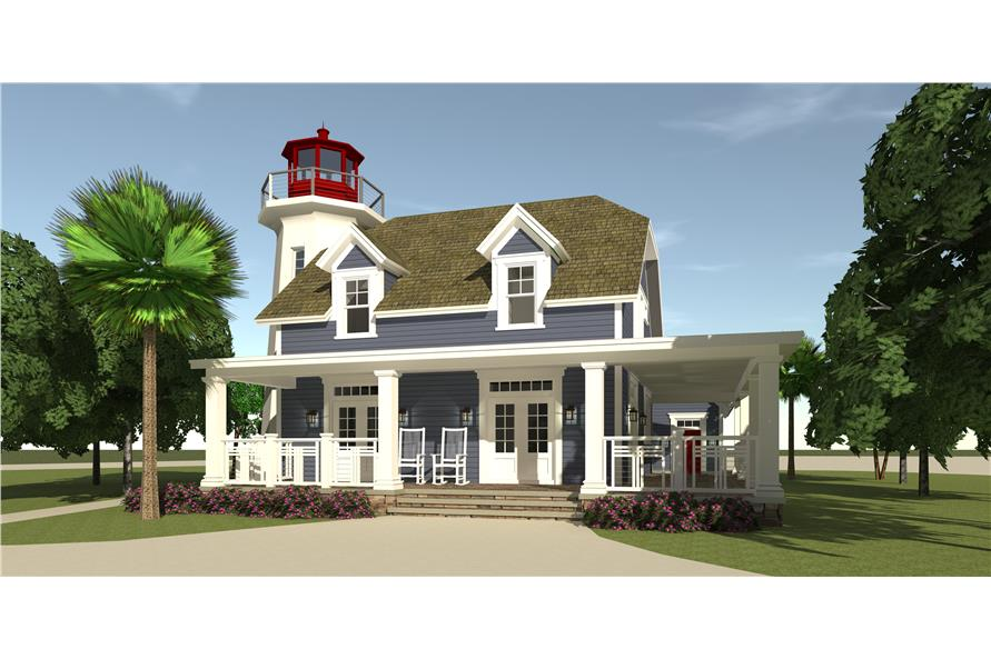 Coastal house plan with lighthouse 3 bedrms 2 5 baths for Light house designs