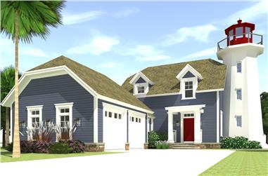 Color rendering of Coastal home plan (ThePlanCollection: House Plan #116-1073)