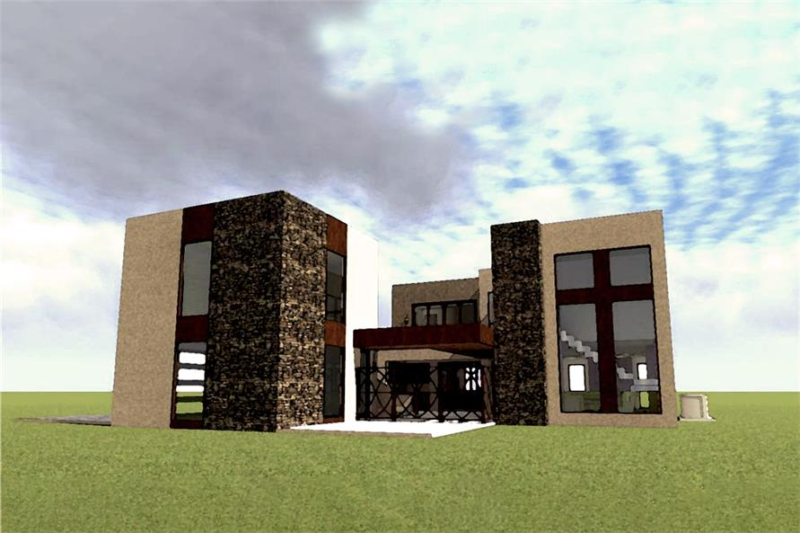 Color rendering of Modern home plan (ThePlanCollection: House Plan #116-1078)